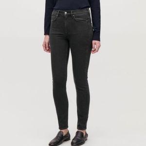 COS black denim stretchy hi rise skinny jeans 27